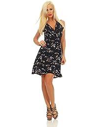 Fashion4Young 5455 Damen Mini Kleid Wickeloptik Ärmellos Blumen Minikleid Sommerkleid Dress