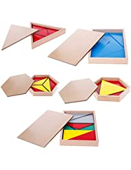 Suweqi Montessori Wooden Material Toy Constructive Triangles Rectangular Pentagon