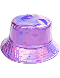 a9bf77003d1 BFD One Holographic Bucket Hat Shiny Metallic PVC Bucket Hat Silver Gold  Mens Womens Sun Hat