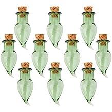 10 Frascos De Vidrio De Pimienta Corcho Vial De Botellas Que Deseen Bricolaje Colgante Verde