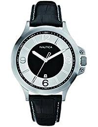 Reloj Nautica A19515G para hombre al cuarzo (batería) acero quandrante plateado correa piel