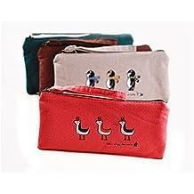 Sintética Ran estudiantes papelería Animal Print Lienzo Cremallera Pen lápiz caso bolsa bolsas cosméticos Coin Purse- rojo