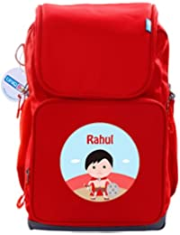 UniQBees Personalised School Bag With Name (Smart Kids Large School Backpack-Red-Hercules)