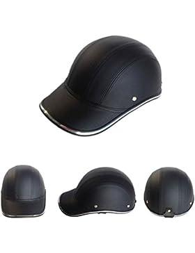 ZHUOTOP - Casco de seguridad para motocicleta, scooter, béisbol, estilo Capf, apertura media cara negro negro