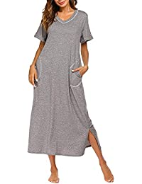 b81c9cf85e Sleepwear Women s Nightshirt Short Sleeve Nightgown with Pocket Sleep Dress  Full Length