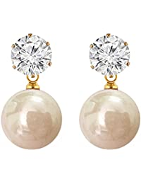 Shreya Collection Elegant & Fashionable Off White Colour Faux Pearl & White Stone Stud Earrings - 878.7