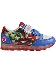 Avengers 2300-2648 Chaussons Sneaker Mixte Enfant, Baskets Mode, Led, Multicolore, Captain America, Iron Man, Thor, Hulk