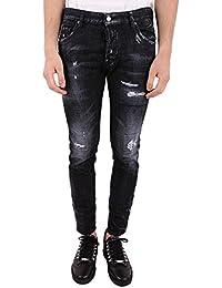 15bfb388a0df6 Dsquared2 Jeans in Denim Effetto Tinto e Destroyed Nero Uomo