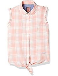 Lee Cooper Girls' Striped Slim Fit Cotton Shirt (1000713957006_Pink_11-12)