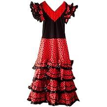 La robe senorita espagnole, flamenco costume pour femme/femme noir/rouge