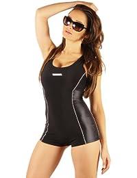 Damen Badeanzug mit Bein Schwimmanzug Hotpants mit Schwimmerrücken SK0028