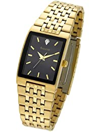 Accurist Men's Quartz Watch with Black Dial Analogue Display and Gold Plated Stainless Steel Bracelet Mb921Bx