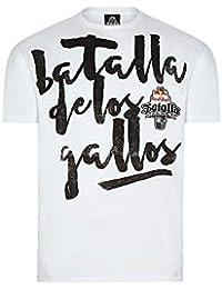 Red Bull Camiseta Batalla de los Gallos Original Ropa de Hombre de Manga Corta en Blanco