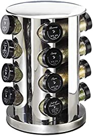 16 Glass Jars Spice Rack Set