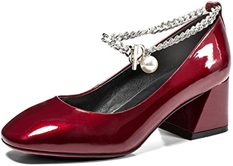 DKFJKI Talons Hauts en Cuir pour Profonde Femme Bouche Peu Profonde pour Strass Chaussures Simples Chaîne Mary Jane Chaussures...B07CVHSS4JParent 8e7ebd