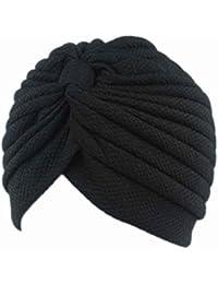 Bobury Mujeres con pliegues volantes Chemo Knit Atado Turbante Cap Muslim Head Bufanda Hat Headwrap