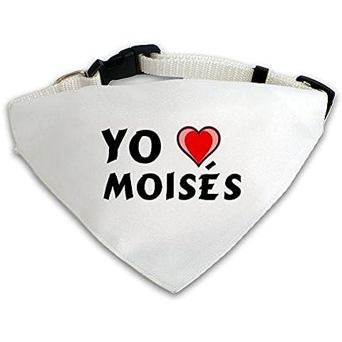 Pañuelo blanco personalizado para perros con Amo Moisés (nombre de pila/apellido/apodo)