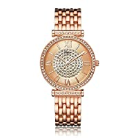 Difeini Ladies Watch Analog Watch with Rhinestones Dial Rose Gold Stainless Steel - DF9701A