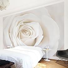 Fotomural - Pretty White Rose - Mural apaisado, papel pintado, fotomurales, murales pared, papel para pared, foto, mural, pared barato, decorativo, Dimensión Alto x Ancho: 225x336-10.00
