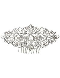 shmily boda brillantes pelo peine pelo maduro pelo novia joyas plata nuevo hs1003