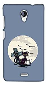 PrintHaat 3D Hard Polycarbonate Designer Back Case Cover for Micromax Unite 2 A106 :: Micromax A106 Unite 2 (a witch cat :: frightening lights :: cruel bats in the sky :: danger :: horrifying scene :: dangerous cat in cemetery in black blue and grey)