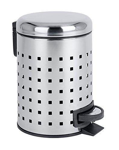 Wenko 22445100Leman, diseño con Orificios Cubo con Pedal (Acero Inoxidable Cubo, Cubo de Basura con Pedal Mecanismo Capacidad 3L, Acero Inoxidable, Brillante, 22,5x 17x 25cm