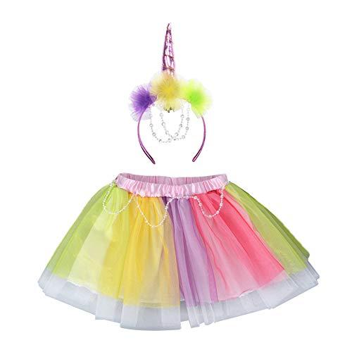 Hukangyu1231 Brautjungfer Hochzeitskleid für Mädchen Mädchen Set Rainbow Unicorn Set Einhorn Stirnband kurzen Rock Zweiteilige Set Kleid für Kinder (Größe : 2T)