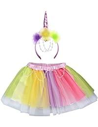 Vestido de Fiesta de los niños Princesa Fiesta Juego de niñas Rainbow Unicorn Set Unicorn Headband Falda Corta Conjunto de Dos Piezas (tamaño : 6T)