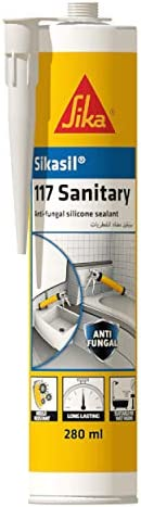 Sika Sikasil-117 Sanitary, Anti-fungal Silicone Sealant, 280ml, Transparent, 606887