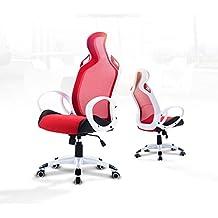Silla de oficina gaming, modelo deportivo, asiento Racing para ordenador, de piel sintética, color rojo blanco–Santiago