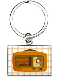 Retro Radio Vintage Technology Rectangle Keychain Key Ring