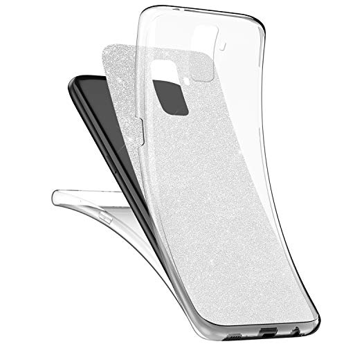 Preisvergleich Produktbild Galaxy S9 Plus Hülle,Surakey Galaxy S9 Plus Full Body 360 Grad TPU Silikon Crystal Case,Glänzend Glitzer Transparent Vorne Hinten Komplett Schutzhülle TPU Bumper Case Etui - Silber