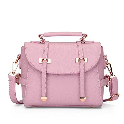 LDMB Damen-handtaschen Frauen PU-lederne große Kapazitäts-Schulter-Kurier-Handtaschen-justierbare einfache wilde feste Farbkreuzbody-Beutel-Einkaufstasche Pink