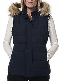 Ladies Hunter Outdoor Fur Trim Gilet in Navy