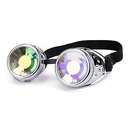 ZAIQUN Steampunk-Brille mit Stacheldraht, Retro-Schweißen, Punk, Gothic, Cosplay, Halloween, Brille Silber