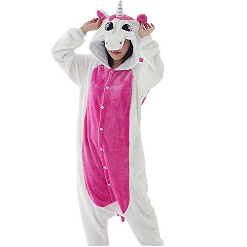 Pyjamas Kinder Erwachsene Einhorn Einteiler Tieranzüge für Junge Mädchen Damen Herren (S, Einhorn...