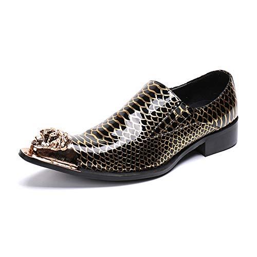 Herren Lederschuhe Mode Western Cowboy Schuhe Spitzmetall Toe Gold Snakeskin Muster überstreifen Formal Hochzeit Kleid Abend Party Größe 37-46, Gold Toe Herren-schuhe