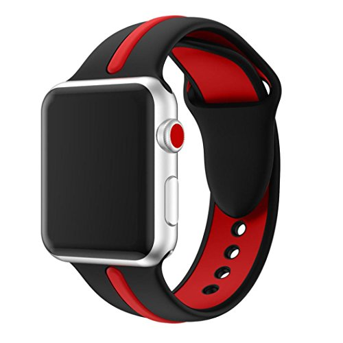 Price comparison product image HKFV Amazing New Fashion Charming Creative Young Stylish Sports Silicone Bracelet Strap Band For Apple Watch Series 3 38/42MM Best Decor For Your Watch (42mm, Black)
