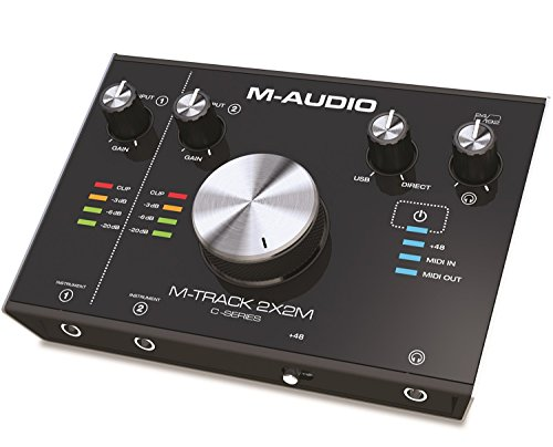 M-Audio M-Track 2x2M 24/192 USB-C High Speed Audio MIDI Interface mit Crystal Preamps/+48 V Phantomspeisung, ProTools First und umfangreiches Softwarepaket