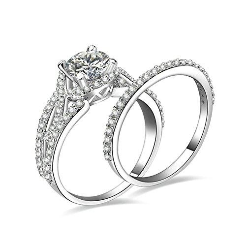 (Custom Ringe)Adisaer Ring Silber 925 Damen Muster Kristall Runde Zirkonia Verlobungsring Größe 50 (15.9) Kostenlos Gravur (Pharao Kostüm Muster)