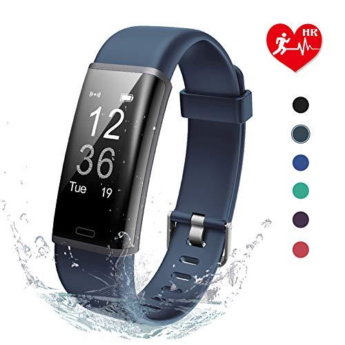Lintelek IP67 Wasserdicht Schrittzähler, Fitness Tracker mit Pulsmesser Aaktivitätstracker für Damen Kinder Herren(Grau)