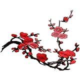 1pcs Apliques De Encaje Flor Del Ciruelo Del Bordado De Flor / Parche Motivos - rojo, 37cm * 14cm