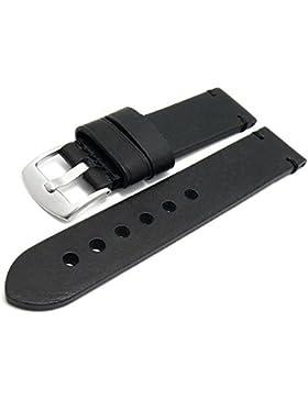 Meyhofer Uhrenarmband Ludwigsburg 22mm schwarz Leder glatt robust abgenäht MyHeklb131/22mm/schwarz/TiT