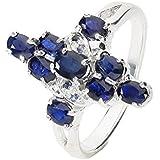 Ring Größe 51 aus Sterlingsilber (AG 925), Kreuz mit blauen Saphiren