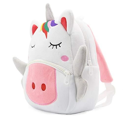 Kuscheltier Einhorn Rucksack Kindergarten,Plüsch rucksäcke für Babys Jungen Mädchen,Kindergarten Kuscheltiere für 2-4 Jahre Kinder Rucksäcke (Weiß)