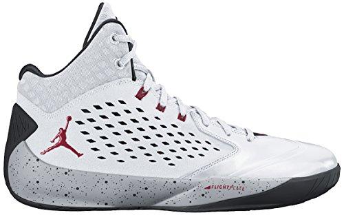 Nike Herren Jordan Rising High Basketballschuhe, Weiß Grau/Schwarz (White/Gym Rot Wolf Grey-Black), 42.5 EU (Jordan Und Weiß Rot, Grau)