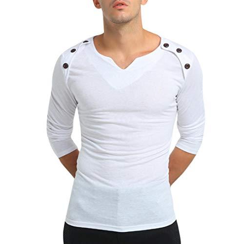 Paolian T-Shirt boutonné à col en V de Couleur Unie pour Hommes, élégant Confortable Automne/Hiver Hauts pour Hommes