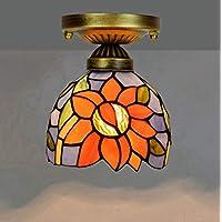 Yjmgrowing Tiffany Estilo De 6 Pulgadas Pequeña Luz De Techo En Flor De Sol Vidrieras Lámparas De Techo para Pasillo Pasillo Luminaria Decorativa, E27, 110-240V (Sin Bombillas)