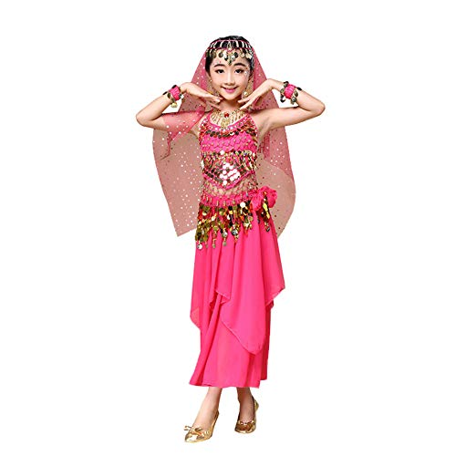 Kinder Ägyptischen Weibliche Kostüm - JIE. Indische Tanzkostüme Weibliche Kinder Kleine Pfefferstreuer Rock Kinder Bauchtanz New Practice Kleidung,Rosered,S