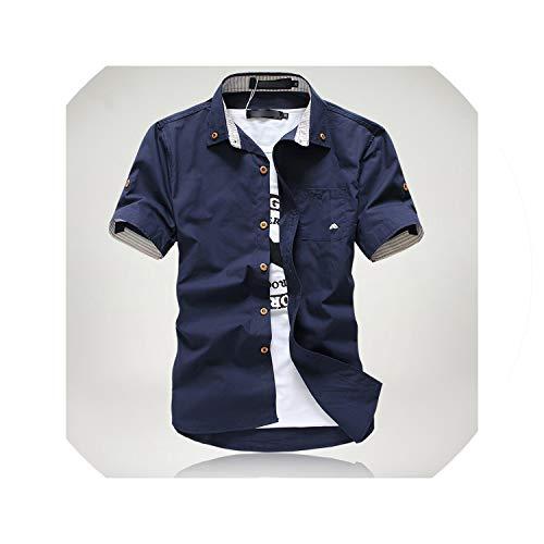 2019 Männer Casual Kurzarm-Shirts Kleiner Pilz Stickerei Streifen Grenzen Male Hemd, Dunkelblau, XXXL (Kleidung Für Mädchen Aeropostale)
